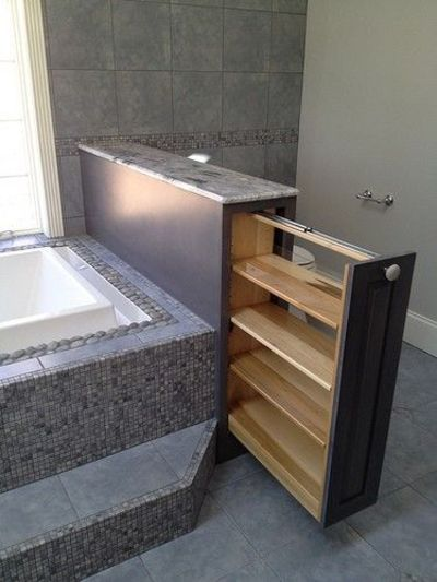 Small and smart storage built in to bathtub